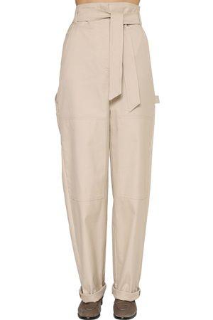Max Mara | Mujer Pantalones De Lona De Algodón Con Piernas Anchas 36