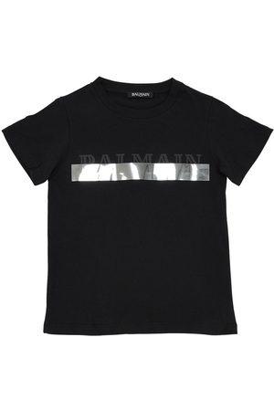 Balmain Camiseta De Algodón Jersey Estampada
