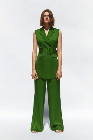 Zara Mujer Cinturones - Chaleco satinado cinturón