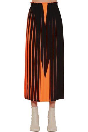 MM6 MAISON MARGIELA | Mujer Falda Midi Plisada Con Estampado /negro 38