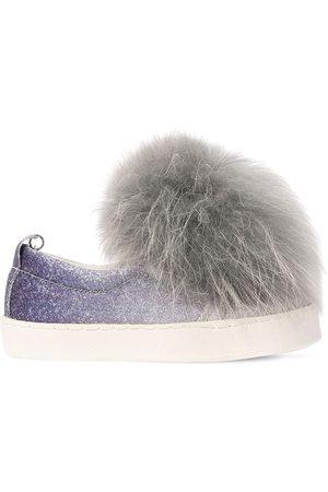 MONNALISA Sneakers Slip-on De Piel Sintética Glitter