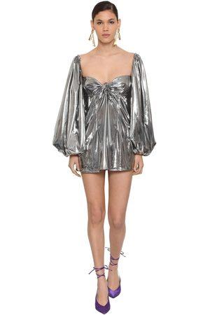 ATTICO Vestido De Jersey Metalizado Con Lazo