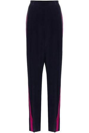 Stella McCartney Pantalones anchos de crepé de seda