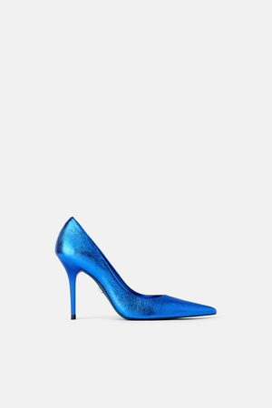 Zara Zapato tacón piel metalizado blue collection