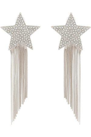 Saint Laurent Pendientes de plata con motivo de estrella con detalles colgantes
