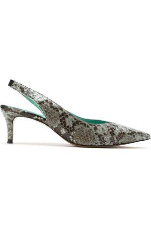 Blue Bird Zapatos de tacón con tira trasera con efecto de piel de pitón