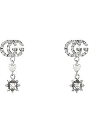 Gucci Mujer Pendientes - Pendientes de flor y Doble G con diamantes