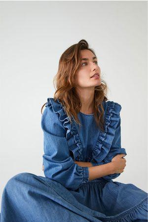 Zara Camisa denim volantes