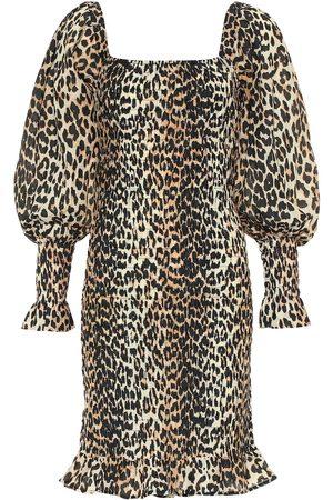 Ganni Vestido corto de algodón y seda