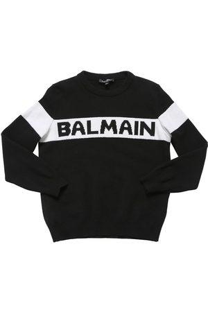 Balmain Suéter De Punto Cashmere Con Logo Jacquard