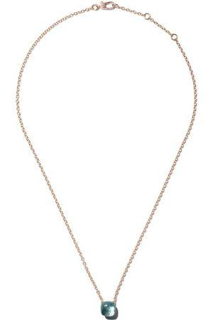 Pomellato Collar Nudo con cadena y topacio azul en oro rosa 18kt y oro blanco 18kt