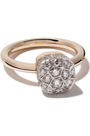 Pomellato Anillo Nudo Solitaire con diamantes en oro rosa 18kt y oro blanco 18kt