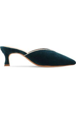 ZYNE Mujer Zuecos - Zapatos Mules De Terciopelo Decorado 50mm