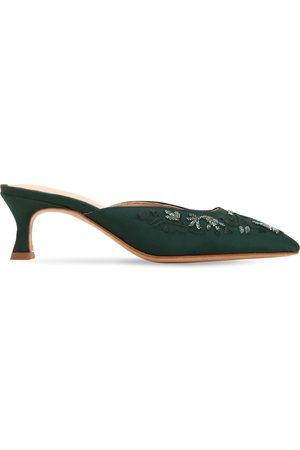 ZYNE Mujer Zuecos - Zapatos Mules De Satén Decorado 50mm