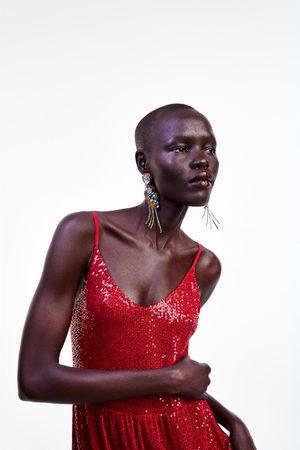 Zara Vestido largo lentejuelas