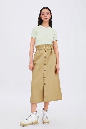 Zara Mujer Faldas - Falda botones cinturón
