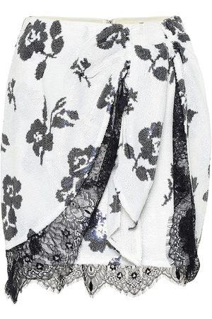 Self-Portrait Minifalda de lentejuelas floral