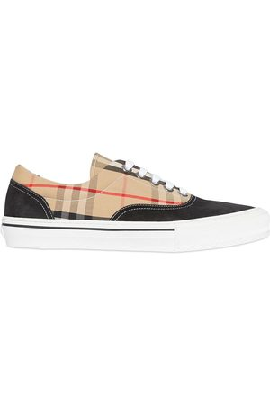 Burberry Hombre Zapatillas deportivas - Vintage Check Cotton and Suede Sneakers
