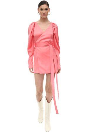 ROTATE Satin Mini Wrap Dress