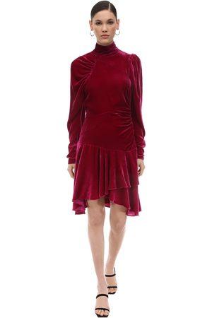ROTATE Draped Velvet Mini Dress