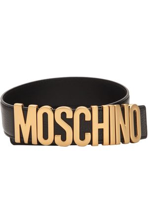 Moschino Mujer Cinturones - Gold Logo Leather Belt