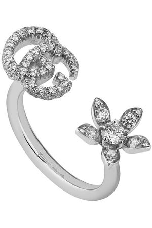 Gucci Anillo con doble G y flor con diamantes