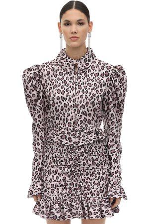 MARIANNA SENCHINA | Mujer Camisa De Tafetán Con Estampado Animal /negro Xs