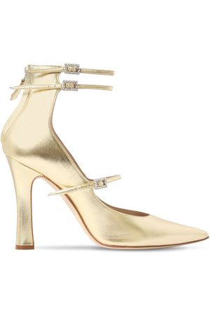 """Alessandra Rich Zapatos Pumps """"mary Jane"""" De Piel Metalizada 105mm"""