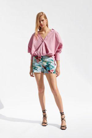 pantalon corto zara estampado floral