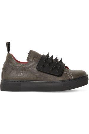 AM 66   Niño Sneakers De Piel Con Picos /negro 27