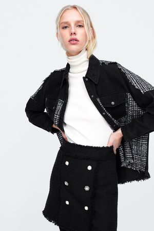 Zara Mujer Minifaldas - Falda mini botones joya