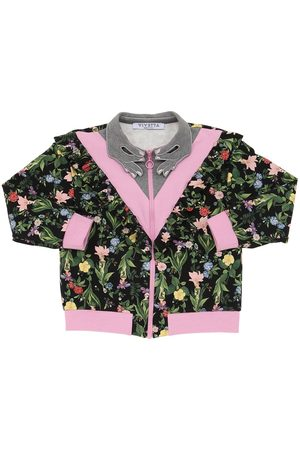 VIVETTA Floral Print Zip-up Cotton Sweatshirt