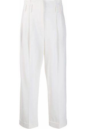 Brunello Cucinelli Mujer Pantalones de talle alto - Pantalones con volantes en la cinturilla