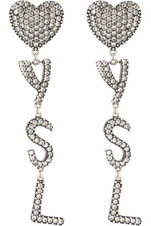 Saint Laurent Aretes con adornos de cristal
