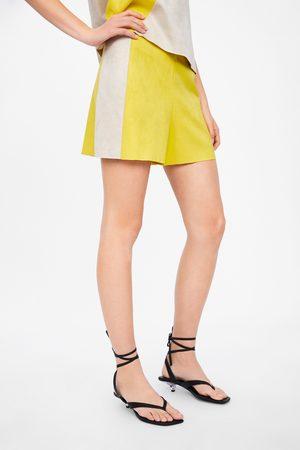 Zara Mujer Pantalones de cuero - Bermuda efecto ante color block