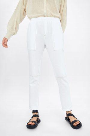 Zara Mujer Joggers - Pantalón jogger pespuntes