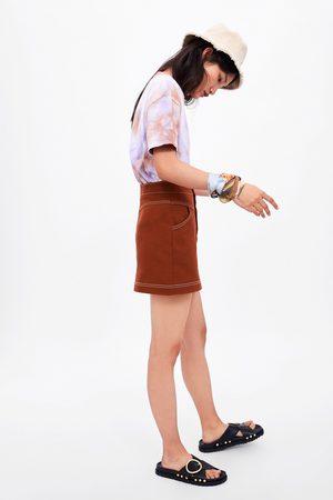 Zara Mujer Minifaldas - Falda mini costuras