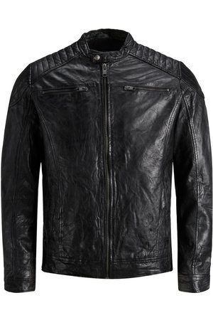 Jack & Jones Minimalist Leather Jacket Men Black