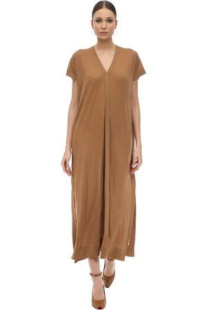 Agnona Vestido Largo De Punto De Cashmere