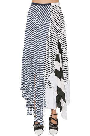 Loewe | Mujer Falda De Algodón Jersey A Rayas /blanco Xs