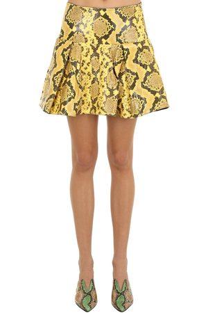 MARQUES'ALMEIDA | Mujer Mini Falda Plisada De Piel Con Efecto Serpiente 4