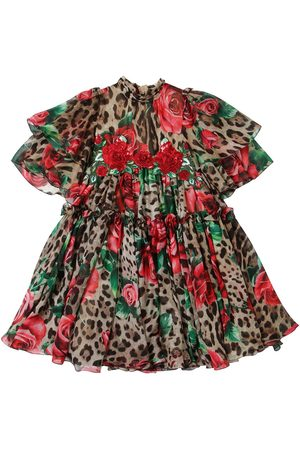 "Dolce & Gabbana Vestido ""rose & Leopard"" De Chifón De Seda"