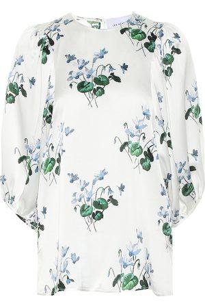 Les Rêveries Blusa de satén de seda floral
