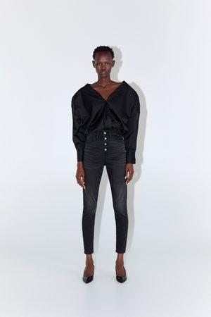 Zara Mujer Pitillos - Jeans z1975 high rise skinny botones