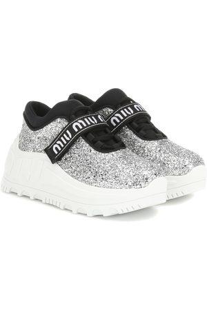Miu Miu Zapatillas de glitter con logo