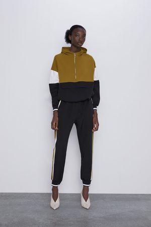 Zara Mujer Joggers - Pantalón jogger banda lateral