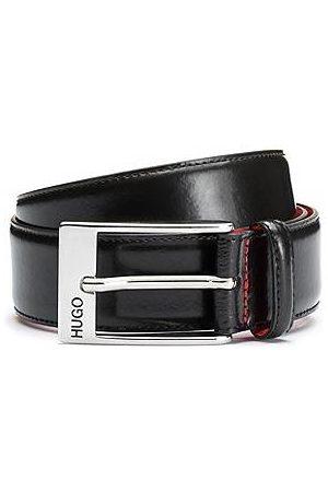 HUGO BOSS Hombre Cinturones - Cinturón de piel de becerro con hebilla plateada pulida