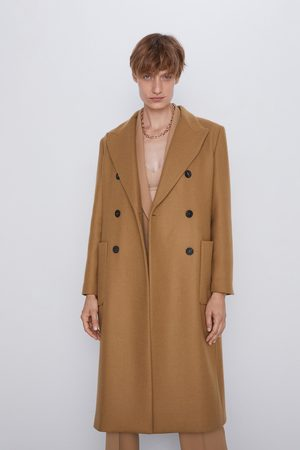 Abrigo Largo De Cuero, Mujer Zara