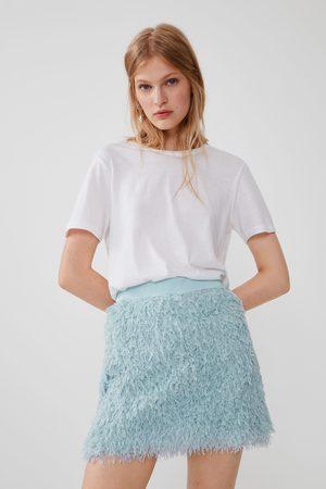 Zara Mujer Minifaldas - Falda mini efecto pluma