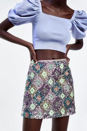 Zara Mujer Minifaldas - Falda mini lentejuelas